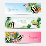 Banner Set of Tropical Flowers and Exotic Fish, Cards with Text, Beach Flyers. In Vector Royalty Free Stock Images