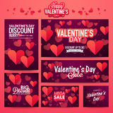 Banner set for Valentine's Day celebration. Royalty Free Stock Image