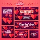 Banner set for Valentine's Day celebration. Royalty Free Stock Image