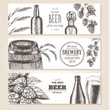Banner set. Vector illustration in sketch style. Hand drawn beer horizontal banners. Line drawing.  Royalty Free Illustration
