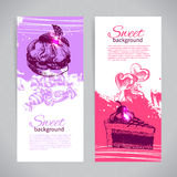 Banner set of vintage hand drawn sweet backgrounds Royalty Free Stock Image