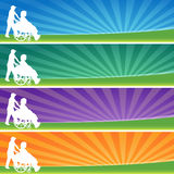 Banner Set Wheelchair Female Stock Image