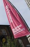 Banner at Sheffield Hallam University, Sheffield, UK - September 2013 stock image