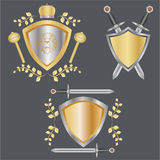 Banner of the shield and the sword. Banner of gold shields, swords and scepters Stock Photo