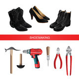 Banner with shoemaking professional equipment. On white background. Black boots and shoes. Vector illustration of electric screwdriver or drill Stock Images