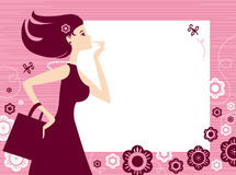 Banner with shopping girl Stock Photo