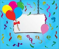 Banner sign with party balloons and confetti on blue background.  Stock Photos