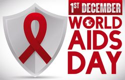 Red Ribbon in Shield to Commemorate World AIDS Day, Vector Illustration. Banner with a silver shield with a red ribbon on it, promoting awareness and prevention Royalty Free Stock Photo