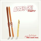 Banner ski party with a Mountains and ski equipment in the snow, Apres ski Stock Image