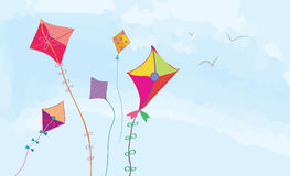 Banner with sky, kites and birds horizontal Stock Image
