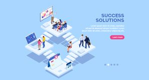 Banner for Small Office Homepage. Isometric analysis, data investment for project. Solutions, visualization, analyzing of success. Business workplace, consulting royalty free illustration