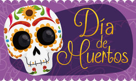 """Banner with Smiling Mexican Skull Celebrating """"Dia de Muertos"""", Vector Illustration. Banner with smiling colorful skull decorated with floral design Stock Photography"""