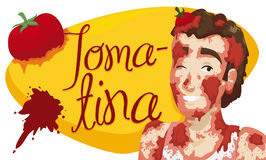 Young Man Covered with Tomatoes over Sign for Tomatina Festival, Vector Illustration. Banner with smiling young man over greeting sign with splattered tomato Royalty Free Stock Image