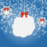 Banner with snow on the blue Stock Photography