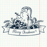 Banner with Snowman Stock Photos