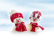 Banner with snowmen Stock Image