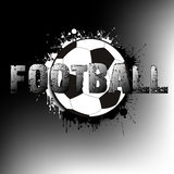 Banner a soccer ball on a background of blots of paint. The inscription football. Vector illustration Royalty Free Stock Photo