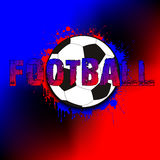 Banner a soccer ball on a background of blots of paint. The inscription football. Vector illustration Stock Photo