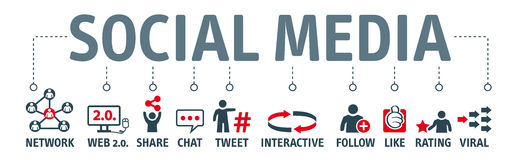 Banner social media. Icons and Keywords. Social media are computer-mediated technologies that allow the creating and sharing of information, ideas, career Royalty Free Stock Image