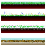 Banner soil cutaway. Soil cutaway. field of grass, flowers and stones. Vector Illustration Stock Photo