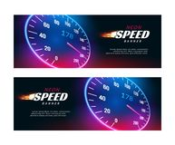 Banner speed car. Speedometer fast action poster or flyer design.  stock illustration