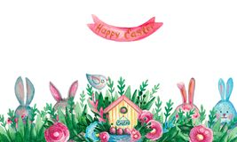 Banner Spring Easter composition house basket branches flowers eggs on white isolated background Festive symbolic elements. Banner Spring Easter composition vector illustration
