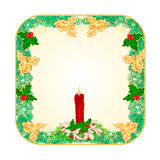 Banner square Christmas  with  a red candlestick and poinsettia vector Royalty Free Stock Photography