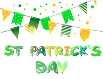 Banner for St Patricks Day with flags and balloons. Vector illustration Stock Photography