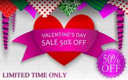 Banner for St. Valentine`s Day sale 50% discount. Beautiful festive banner with curls for St. Valentine`s Day sale 50% discount limited time only Stock Image