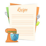 Banner, sticker, a note for the recipe. Making the recipe for cooking. Kitchen mixer and kitchen tools for the design of Stock Photos