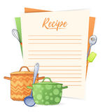 Banner, sticker, a note for the recipe. Making the recipe for cooking. Kitchen pots and kitchen tools for the design of Royalty Free Stock Photo