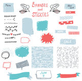 Banner and stickers set for the web design elements. Cute handdrawn design. illustration Royalty Free Stock Photography