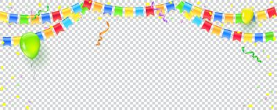 Banner with streamers, confetti and garlands of multi colored hanging flags. Vector checkered background for birthday stock illustration