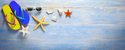 Holiday  Summer banner, blue atoll wooden plank Stock Photography
