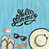 Banner summer composition of inscription. Vector illustration. Composition of inscription, sunglasses, pair of flip-flops, starfish, shell and hat on a wooden Royalty Free Stock Photos