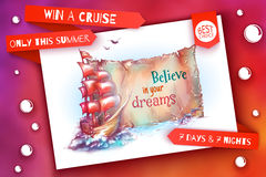 Banner for summer cruise. Sail ship in the ocean Royalty Free Stock Photography