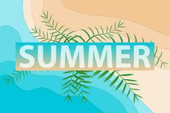 Banner Summer. Inscription Summer against the background of the sea and sand with palm leaves. vector illustration