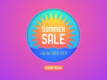 Banner of Summer Sale. Vector Illustration. Of Summer Sale with discount of up to 50 percent off. Sun and Sea, bright colors and pink-purple background Royalty Free Stock Photos