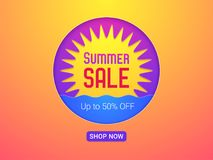 Banner of Summer Sale. Vector Illustration. Of Summer Sale with discount of up to 50 percent off. Sun and Sea, bright colors and yellow-orange background Royalty Free Stock Photos