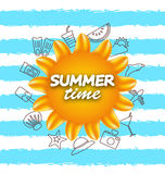 Banner for Summer Time .Vacation Background with Hand Drawing Elements Stock Photos