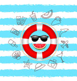Banner for Summer Time .Vacation Background with Hand Drawing Elements Royalty Free Stock Image