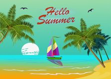 Banner Summer vacation and travel design Royalty Free Stock Photo