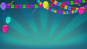 Banner with sunbeams in broadway style. Garland of colour flags, inflatable ballons and serpentine. Vector 3D. Illustration. Background for poster, banner Royalty Free Stock Photo