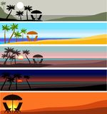 Banner with Sunset stock illustration