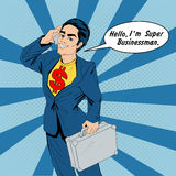 Banner with Super Businessman Talking on the Smart Phone Royalty Free Stock Photo