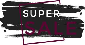 Banner super sale black color Royalty Free Stock Photos