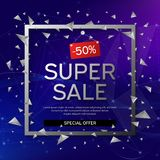 Banner super sale. Frame with black and white abstract geometric shapes around it on a blue background with connecting dots and royalty free stock image