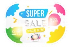 Banner Super sale of 50 off. Concept for big discounts with text and retro TV on a light background with light effects. Flat vecto. R illustration EPS10 royalty free illustration
