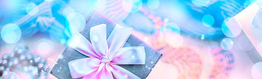 Banner Surrealism Decorative composition preparation for the holiday gifts Decoration. Purchase a Set of women`s jewelry. Blurred background Stock Images