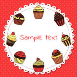 Banner with sweet cupcakes Royalty Free Stock Photos